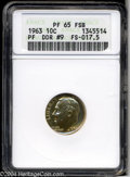 Proof Roosevelt Dimes: , 1963 10C Doubled Die Reverse PR65 Full Split Bands ANACS. ...