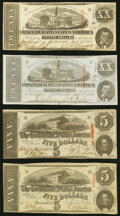 Confederate Notes:1863 Issues, T58 $20 1863 Two Examples Very Fine or Better;. T60 $5 1863 Two Examples Extremely Fine.. ... (Total: 4 notes)