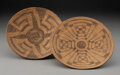 American Indian Art:Photographs, Two Pima Coiled Trays c. 1920 willow, d...