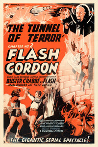 "Flash Gordon (Universal, 1936). Fine/Very Fine on Linen. One Sheet (27"" X 41"") Chapter 2 -- ""Tunnel of Te..."