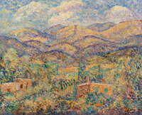 Alfred Gwynne Morang (American, 1901-1958) Gold Mountains Oil in board 16 x 20 inches (40.6 x 50