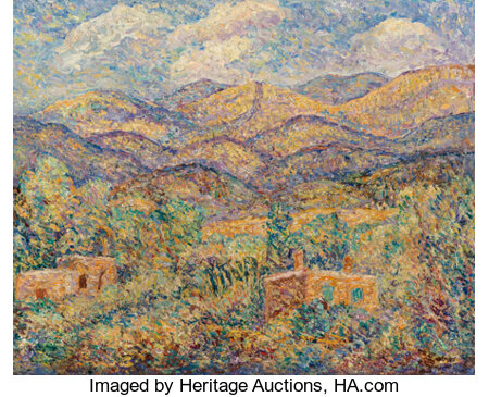 Alfred Gwynne Morang (American, 1901-1958) Gold Mountains Oil in board  16 x 20 inches (40.6 x 50.8 cm) Signed lower...