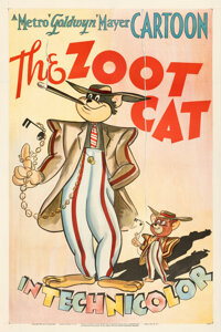 """Tom and Jerry in The Zoot Cat (MGM, 1944). Fine+ on Linen. One Sheet (27"""" X 41""""). Theaters of Old Detroit Coll..."""
