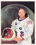 Explorers:Space Exploration, Neil Armstrong Signed, Uninscribed White Spacesuit Color P...