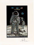 """Explorers:Space Exploration, Neil Armstrong Signed """"One Small Step For A Man. One Giant Leap for Mankind"""" Metallic Color Print...."""