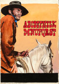"""Movie Posters:Western, Joe Kidd by Enzo Nistri (Universal, 1972). Very Fine. Signed Original Mixed Media Concept Artwork on Paper (9.5"""" X 13..."""