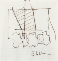 Barry Le Va (b. 1941) Untitled (Napkin Drawing) Ink on paper napkin 5 x 5 inches (12.7 x 12.7 cm)