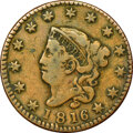 Large Cents, 1816 1C N-8, R.1, -- Reverse Scratched -- NGC Details. Fine. Ex: Eric P. Newman Collection....