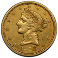 1843-D $5 Medium D -- Cleaning -- PCGS Genuine. XF Details. Mintage 98,452. From The Ed Leigh McMillan Collection. &...
