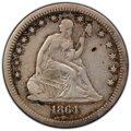 Seated Quarters: , 1864-S 25C VF25 PCGS. PCGS Population: (7/34 and 0/1+). NGC Census: (4/20 and 0/0+). CDN: $1,850 Whsle. Bid for NGC/PCGS VF...