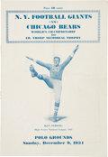 """Football Collectibles:Programs, 1934 NFL Championship """"Sneakers Game"""" Program Chicago Bears vs. New York Giants. ..."""