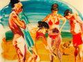 Works on Paper, Eric Fischl (b. 1948). On the Beach - 2, 2014. Mixed media pigment print with poured resin. 30 x 40 x 2 inches (76.2 x 1...