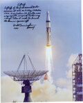 "Explorers:Space Exploration, Walt Cunningham Signed Large Apollo 7 ""Liftoff"" Color Phot..."