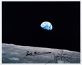 """Explorers:Space Exploration, Apollo 8: Frank Borman and James Lovell Signed """"Earthrise"""" Color Photo. ..."""