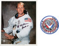 Explorers:Space Exploration, Al Worden Signed White Spacesuit Color Photo [and] a Signe...