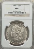 Morgan Dollars: , 1887-O $1 MS61 NGC. NGC Census: (639/8595). PCGS Population: (546/10853). CDN: $75 Whsle. Bid for NGC/PCGS MS61. Mintage 11...