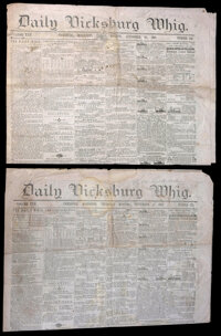 """1860 Sheet Music """"I Wish I Was In Dixie's Land"""" with Four Issues of the Vicksburg Daily Whig"""