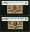 Confederate Notes:1863 Issues, T63 50 Cents 1863 PF- 7 Cr. UNL PMG Choice Uncirculated 64 EPQ;. T72 50 Cents 1864 PF-1 Cr. 578 PMG Choice Uncirculated 64... (Total: 2 notes)