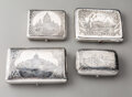 Silver & Vertu, A Group of Four Russian Silver Niello Cigarette Boxes, early 20th century. Marks to largest: (84-left facing kokoshnik), C... (Total: 4 )