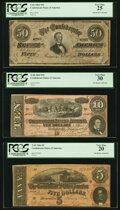 Confederate Notes:1864 Issues, T66 $50 1864 PF-5 Cr. 498 PCGS Very Fine 25;. T68 $10 1864 PF-31 Cr. 549 PCGS Very Fine 30;. T69 $5 1864 PF-3 Cr. 559 ... (Total: 3 notes)