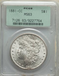 Morgan Dollars: , 1881-CC $1 MS63 PCGS. PCGS Population: (5270/15312). NGC Census: (2930/7000). CDN: $465 Whsle. Bid for NGC/PCGS MS63. Minta...