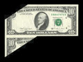 Error Notes:Foldovers, Fr. 2028-D $10 1988A Federal Reserve Note. Choice AboutUncirculated.. ...