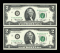 Error Notes:Mismatched Prefix Letters, Fr. 1935-B $2 1976 Federal Reserve Notes. Two Consecutive Examples.Very Choice Crisp Uncirculated.. ... (Total: 2 notes)
