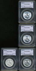 Franklin Half Dollars: , (2) 1960-D 50C MS62 PCGS; and (2) 1960-D MS63 PCGS, ... (4 Coins)
