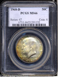 Kennedy Half Dollars: , 1968-D 50C MS66 PCGS. Sharply struck with an interesting ...