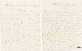 Military & Patriotic:Civil War, Two Letters from Laurence Ryan of the 63rd New York Infantry, Company D.... (Total: 2 Items)