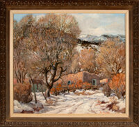 Carl Von Hassler (American, 1887-1969) Winter in Jemez, New Mexico Oil on canvas 30 x 34 inches (