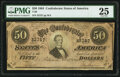 Confederate Notes:1864 Issues, Handwritten Inscription T66 $50 1864 PMG Very Fine 25.. ...