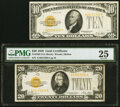 Small Size:Gold Certificates, Fr. 2400 $10 1928 Gold Certificate. Very Fine;. Fr. 2402 $20 1928 Gold Certificate. PMG Very Fine 25.. ... (Total: 2 notes)