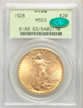 Saint-Gaudens Double Eagles: , 1928 $20 MS63 PCGS. CAC. PCGS Population: (17365/33926). NGC Census: (16705/25772). CDN: $1,940 Whsle. Bid for NGC/PCGS MS6...