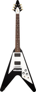 Musical Instruments:Electric Guitars, 2006 Gibson Flying V Black Solid Body Electric Guitar, Serial #011060582.. ...