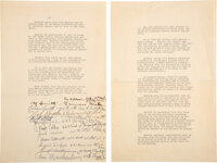 Harry Houdini Lawsuit Statement Signed By Witnesses (1926)