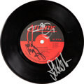 """Music Memorabilia:Autographs and Signed Items, Led Zeppelin """"Black Dog""""/""""Misty Mountain Hop"""" Vinyl 45 Signed by Plant, Page, and Jones (Atlantic, 45-2849). ..."""