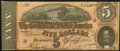 Confederate Notes:1864 Issues, T69 $5 1864 PF-12 Cr. UNL Choice About Uncirculated.. ...