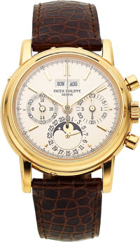 Patek Philippe, A Fine And Rare Yellow Gold Perpetual Calendar Chronograph Wristwatch With Moon Phases, 24 Hours, Leap Y...