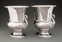 A Pair of Gianmaria Buccellati Two-Handled Silver Wine Coolers, Bologna, Italy, circa 1985 Marks: (M-crown-C)