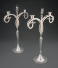 Silver & Vertu, A Pair of Carl Blasius Two-Light Candelabra, Vienna, 1803. Marks: 13, (shield), 1803, (cross in oval), CB. 18-1/... (Total: 2 )
