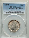 Barber Quarters, 1892 25C -- Cleaning -- PCGS Genuine. Unc Details. Mintage 8,237,245. . From The Maltese Collection....
