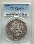 Morgan Dollars, 1895-S $1 -- Cleaning -- PCGS Genuine. VF Details. Mintage 400,000. . From The Maltese Collection....