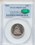 Proof Seated Quarters, 1891 25C PR64 Cameo PCGS. CAC. Ex: Teich Family Collection. PCGS Population: (28/36). NGC Census: (6/39). PR64.. From T...