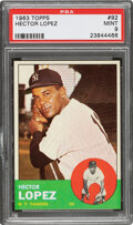 Baseball Cards:Singles (1960-1969), 1963 Topps Hector Lopez #92 PSA Mint 9 - None Higher. ...