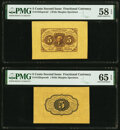 Fr. 1231SP 5¢ First Issue Wide Margin Pair PMG Choice About Unc 58 EPQ; Gem Uncirculated 65 EPQ. ... (Total: 2 note...