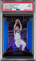 Basketball Cards:Singles (1980-Now), 2018 Panini Prizm Luka Doncic Blue #25 PSA Mint 9. ...
