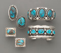 American Indian Art:Jewelry and Silverwork, Five Navajo Jewelry Items... (Total: 5 )