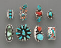 American Indian Art:Jewelry and Silverwork, Eight Southwest Rings... (Total: 8 )