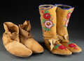 American Indian Art:Beadwork and Quillwork, Two Pairs of Plateau Hide Moccasins... (Total: 4 )